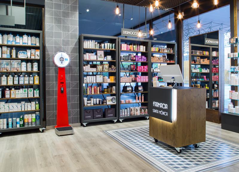 Diseño y reforma de farmacias modernas en Madrid. Diseño de farmacia Santa Monica